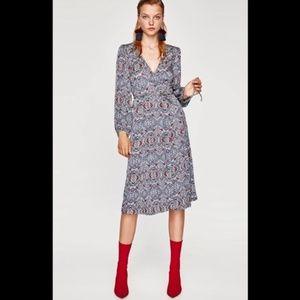 Zara Jacquard wrap Dress .Blue.NWT!